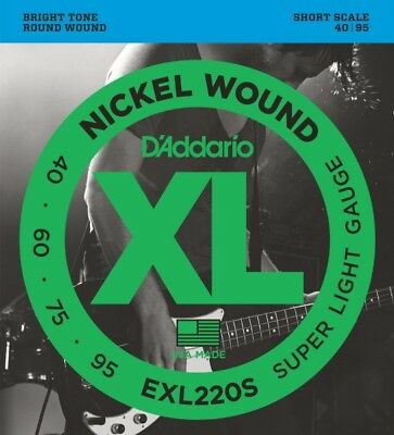 D'Addario EXL220S XL Nickel Wound Super Light (.040-.095) Short Scale Electric B
