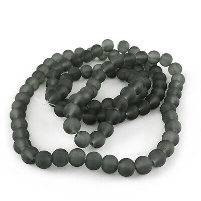 Strand 100+ Grey Glass 8mm Frosted Plain Round Beads Y05230
