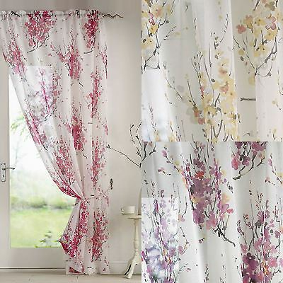 Tokyo Blossom Floral Slot Top Sheer Voile Rod Pocket Window Door Curtain Panel