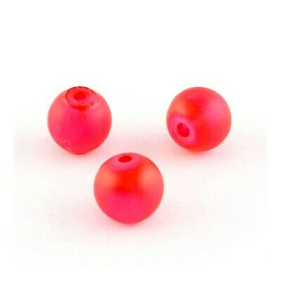 Glass Round Beads 8mm Red 100+ Pcs Frosted Art Hobby DIY Jewellery Making Crafts