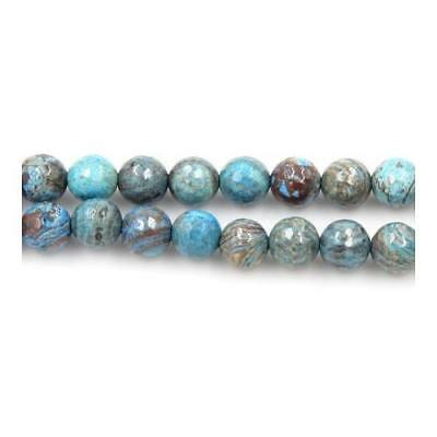 Strand of 90+ Cyan/Brown Calsilica Jasper 4mm Faceted Round Beads Y05595