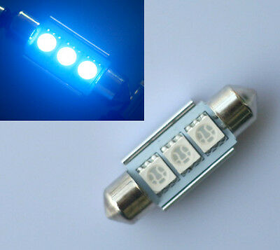 2x Canbus 36mm Blue Light 12V 3 LED SMD C5W 5050 Car Festoon Dome Interior Bulb