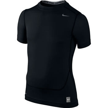 Nike Pro Core Compression Short Sleeve Junior Top - Black
