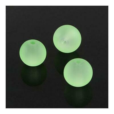 Strand 100+ Pale Green Glass 8mm Frosted Plain Round Beads Y04695