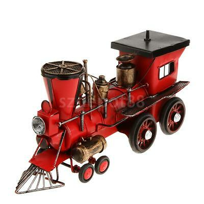 Decorative Red Metal Steam Locomotive Train Tender Car Model Toys
