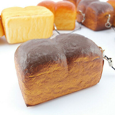 Jumbo Loaf Simulation Bagels Squishy Soft phone Charm Bread Scented Strap ES