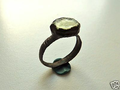 Medieval bronze ring with glass insert.  (242)