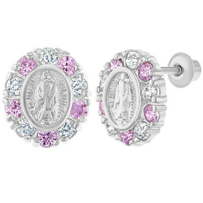 Rhodium Plated Our Lady of Guadalupe Pink CZ Girls Screw Back Earrings