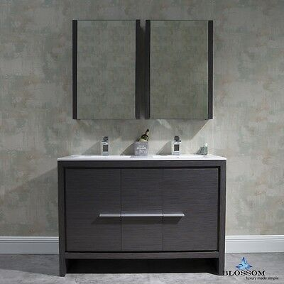 Blossom 48 Milan Modern Double Sink Bathroom Vanity In Grey With