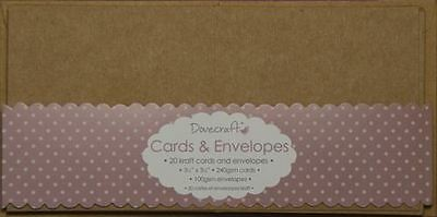 "20x Brown 3.5""x3.5"" Recycled Small Kraft Card Blanks + Envelopes (Dovecraft)"