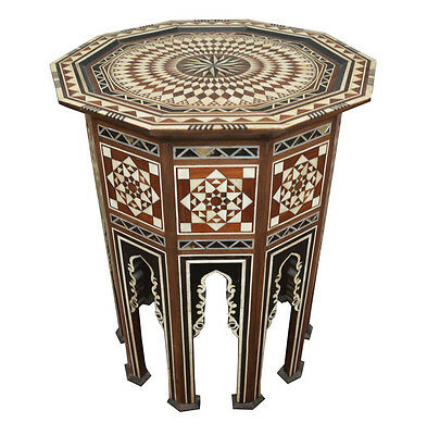 Unique Handcrafted Moroccan Turkish Mother of Pearl Inlaid Coffee Side Table