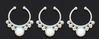 1x Steel Synthetic Opal Septum Hanger Need No Piercing Clip On Nose Fake Silver