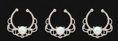 1x Steel White Opal Septum Hanger No Piercing Needed Clip On Nose Fake Silver