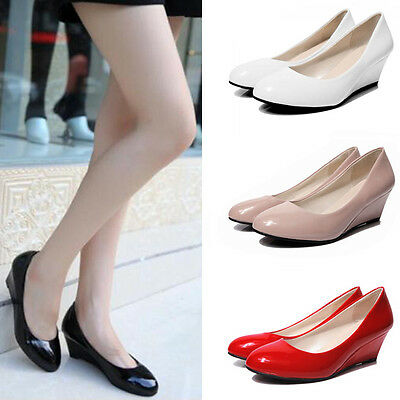 Womens Wedge Low Mid Heel Patent Smart Casual Work Slip Office Court Shoes TY