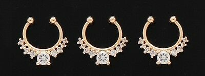 1x Steel CZ Gem Stone Septum Hanger No Piercing Clip On Nose Fake Yellow Gold