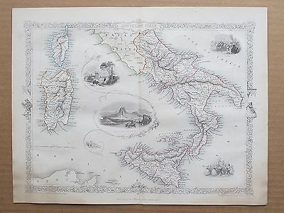 Southern Italy Genuine Antique Map by Rapkin Published c1860 by John Tallis