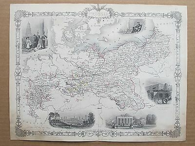 Prussia Germany Poland Genuine Antique Map by Rapkin Published c1860 by Tallis