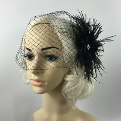Vintage Black Birdcage Veil with Feather Fascinator for Wedding/Funeral