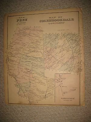 Antique 1876 Penn Colebrookdale Township Kutztown Berks County Pennsylvania Map