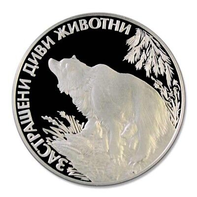 WWF Bulgaria Bear and Cubs 1989 25 Leva Proof Silver Crown