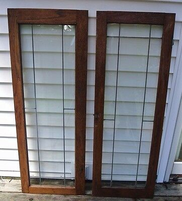 Pair Oak Leaded Glass Cabinet Doors