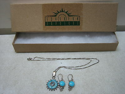 Navajo Indian Signed Sterling Silver Necklace & Earrings Set