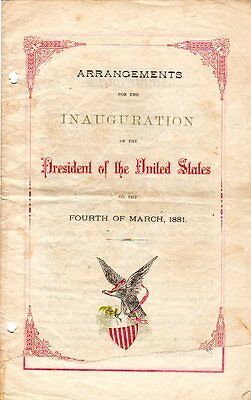 1881 James Garfield Inauguration Arrangements Program