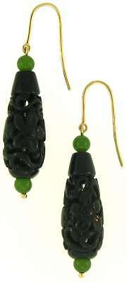 Natural Black Green Nephrite Jade Carved Drops & Beads 14K Yellow Gold Earrings