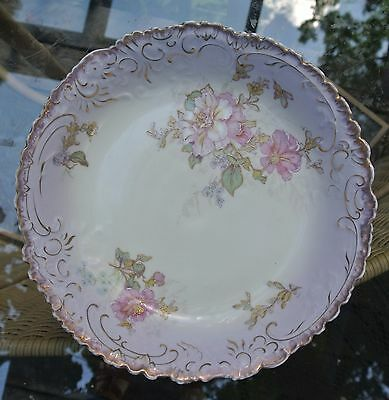 Vintage Austria Hand Painted Purple Flowers Bowl Gold Edge