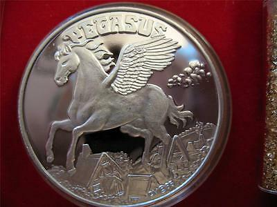 1 Oz  .999 Silver Coin Rare Detailed Pegasus Mythical Horse Engravable + Gold