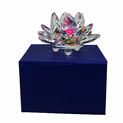 Feng Shui Good Clear Charm Crystal lotus with box X9013