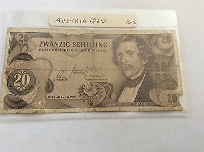 Austria 20 Zwanzig Schilling Note 2nd July 1967 Used & Circulated K 398261 S
