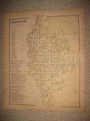 Rare Gorgeous Antique 1870 Bristol City County Rhode Island Handcolored Map Nr