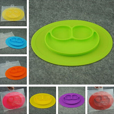 Kids One-Piece Silicone Placemat+Plate Dish Food Table Mat for Baby Toddler New