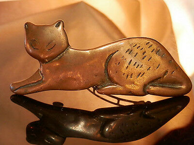 Large Neat-O Vintage 80's Copper Cat Hair Barrette 51MY6