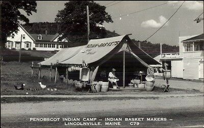 Lincolnville ME Penobscot Indian Camp Basket Makers Real Photo Postcard bh16