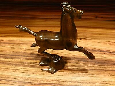 "Vintage bronze ? horse figurine, chinese ? heavy 8 1/2"" wide [Y7-W7-A9]"