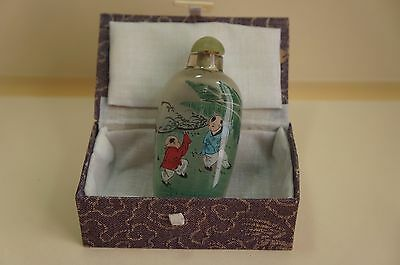 Superb Vintage Chinese Hand Painted (inside) Glass Snuff Bottle [Y7-W6-A8]