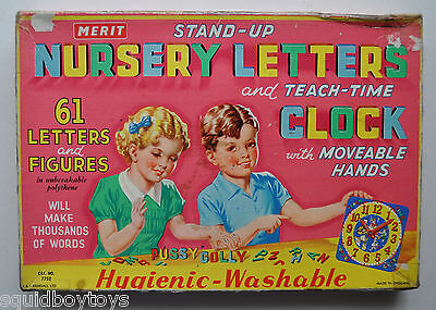 Stand-up NURSERY LETTERS & TEACH TIME vintage TOY 1950s MERIT - ENGLAND
