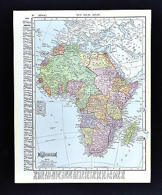 1908 McNally Map - Africa - French North Africa British East Africa Angola South