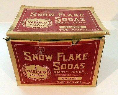 Antique / Vintage Nabisco Snow Flake Soda Crackers 2 LB Box EMPTY