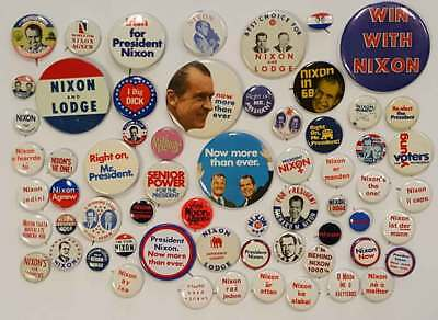 Massive Collection of 62 Different Nixon Pins & Buttons