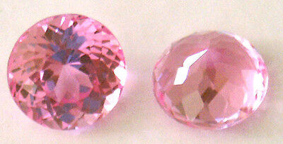 7 mm Top Double Rround brilliant  Orangish Pink Created Sapphire