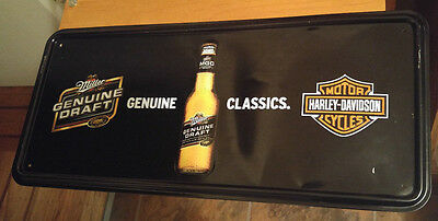 MGD Miller Genuine Draft Classics Beer Harley-Davidson Motorcycles Metal Sign