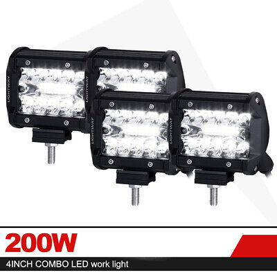 4x 4 inch 200W Cree LED Light Bar Spot Flood Combo Beam Triple Row Driving Lamps