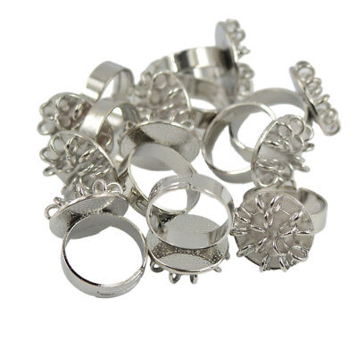 10 pcs Silver Adjustable Round Brass 15 loops Ring Bases DIY Jewelry Making