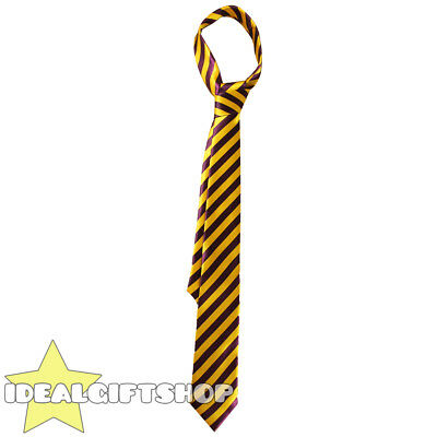 Gold & Claret Thick Satin Striped Neck Tie Schoolboy Fancy Dress Accessory