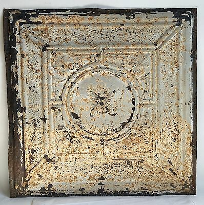 "1890's 24"" x 24"" Antique Reclaimed Tin Ceiling Tile Gray Metal Anniversary B90"