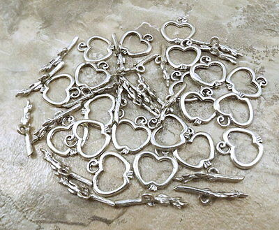 20 Pewter Apple and Twig Toggle Clasps -  5109