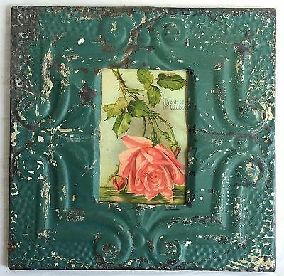 Vintage 1890's Antique Ceiling Tin Picture Frame 4 x 6 Anniversary Green B63